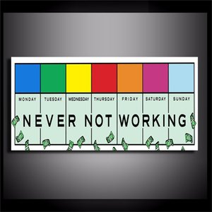 NEVER NOT WORKING , Canvas Painting Living Room Home Decor Modern Mural Art Oil Painting