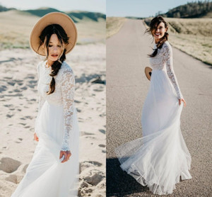 Long Sleeve A-line Wedding Dresses 2019 Cheap Modest Jewel Neck Lace Tulle Full length Beach Party Country Bridel Wedding Gown