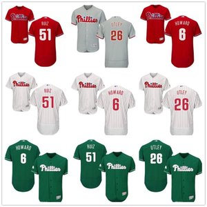 custom Men women youth Phillies Jersey #6 Ryan Howard 26 Chase Utley 51 Carlos Ruiz Home Red Black Grey White Kids Girls Baseball Jerseys