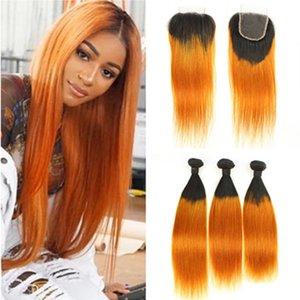 Оранжевый Ombre Бразильские человеческие волосы 3 пучка с закрытием Прямой # 1B / Оранжевый Ombre Девственные волосы переплетения Уток темные корни с закрытием кружева 4x4