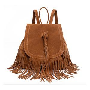 Vintage solid color Women Tassel fashion Backpacks Girls leather Suede Shoulder Bags lady travel large backpack