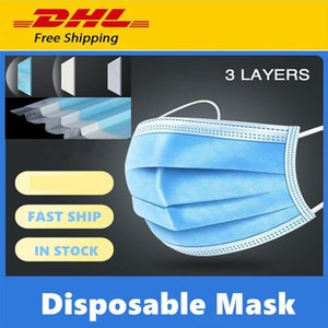 Mask DHL Disposable Free shipping Face 50 Pcs Thick 3-Layer dust pm2.5 Masks with Earloops for Salon, Home Use Comfortable Mask Mascherine