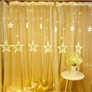 LED Cortina de luz de la estrella y Holiday cadena luz de la luna impermeable 138led 2M decoración de la lámpara para la boda, partido, Luz de Navidad