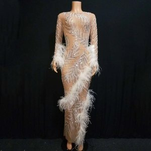 Brillante Rhinestones perlas de vestuario de la pluma blanca de noche del partido del delirio de larga túnica cantante femenina Rendimiento etapa del vestido DT1356