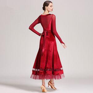 3 colors New Standard Ballroom Dance Dress Women Long Sleeve Waltz/Tango/Jazz Dance Dress Black/Green/Red Performance/Practice