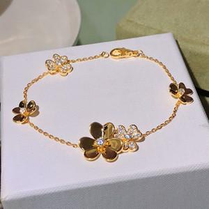 venta caliente 925 marca de joyería para las mujeres cadena de plata de joyería de la boda del trébol pulsera pulsera Praty Flor de trébol de color oro