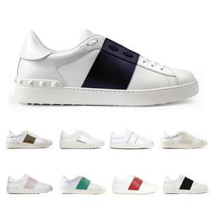 Valentino Модельер обувь для мужчин женщин заклепки Щепка черный зеленый розовый полоса кожа ходьба повседневная обувь размер 36-46