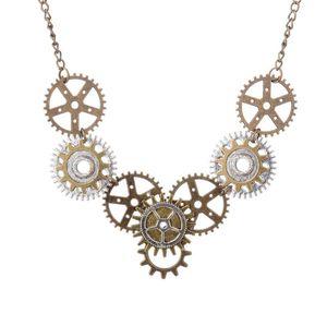 Fashion Jewellery 3 Pz / lotto Steampunk serie esagerato retro round gear charms collare collana catena maglione donne gioielli regali-110