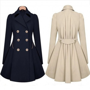Womens Coats Spring Autumn Double Breasted Long Trench Coat Slim Fit Overcoat Raincoat Windbreaker Female Coats