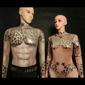 X88 costumes de scène danse Ballroom hommes bodysuit miroir sequin salopette tenues nues vêtements robe de pole dance disco club porte dj partie porte