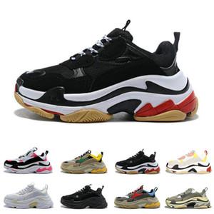Мода высокое качество Новый тройной S мужская женская Повседневная обувь Париж 17FW низкий старый папа кроссовки комбинация подошвы сапоги размер 36-45