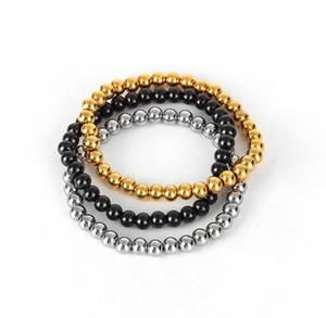 Hot Titanium Steel Bracelets Classic Jewelry Silver Gold Black Bead Charms Bracelet for Women Charm Beads Bracelet Pulseiras Jewelry