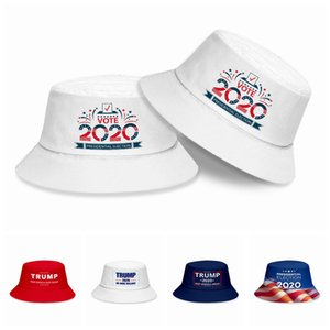 New 2020 Trump Bucket Hat Make America Great Word Printing Visor 2020 Presidential Election Sunscreen Hat Outdoor Sun Hats HHA1343