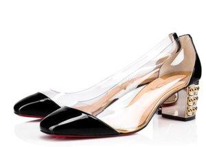 Lüks Tasarımcı Kadın Kırmızı Alt Gallica Yüksek Topuklar Yaz Rugan Siyah, Altın Moda Lady Platformu Chunky Topuklar pompaları