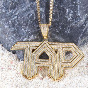 Мода-золото Bling CZ кубический цирконий мужские TAP письма педант ожерелье белое золото полный Алмаз хип-хоп рэпер ювелирные изделия подарки для бойфренда
