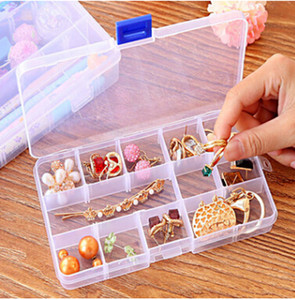 Transparent Plastic Jewelry Storage Box Ear Nails Earrings Organizer Clear Ring Necklace Container 10 15 24 Grid