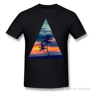 Best Choice Mens 100% Cotton Fabric Palms and Sunset TriangleTee Shirt Mens O-Neck Gray Short Sleeve T-Shirts Plus Size Normal Tee Shirt