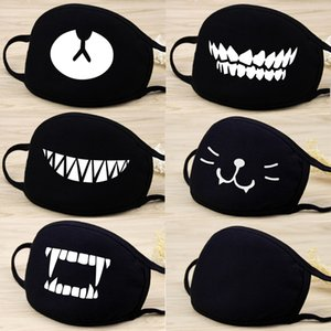 Face Mouth Mask Unisex Fashion Black Cartoon Printed Lovely Cartoon Cotton Breathable Reusable Anti-dust Windproof Mouth-muffle Masks