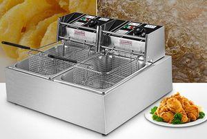 5.5L * 2 Fritadeira Elétrica Com Dupla Cesta de Filtro ASQ82 2500 W Fritadeira para Frango Camarão Batatas Fritas de Aço Inoxidável Fritadeira