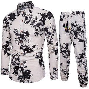 Summer Floral Printed Mens Sets Slim Casual fit Shirt Folk Custom Comfortable Material Linen New Blouse Top Pants