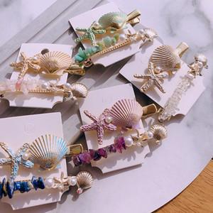 Imitação Pérola Barrettes Mar Cabelo Estrela 1 Pcs Moda de Nova aperto Shell Hairpin Cabelo Acessórios Clipe para o casamento da menina das mulheres