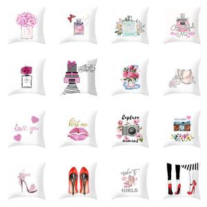 Flores Perfume Bottles Pillowcase menina salto alto Impresso Lance Dia dos Namorados fronha 45x45cm Pillowcase Home Decor