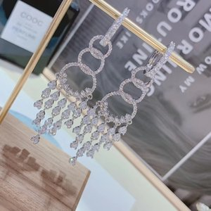 Silver inlaid crystal diamond 4layer dinner tassel long earrings female temperament delicate simple earrings jewelry