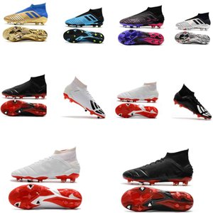 2018 original Predator 19+ soccer cleats Predator Mania 19+ FG boys football boots turf soccer shoes for kids Turbocharge Pack black