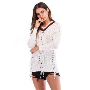 Herbst Panelled aushöhlen Mädchen Kleidung dünne Pullover Female Pullover Mode Frauen mit V-Ausschnitt Pullover Frühling