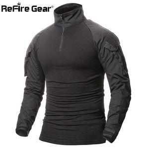 ReFire передач Камуфляж армии T-Shirt Men США RU Солдаты Combat Tactical тенниска Военные силы Multicam Camo с длинным рукавом рубашки CY200515