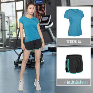 Grande taille 2Pcs / Set Run Yoga Vêtements Trainning exercice Sets à manches courtes extérieur Fitness été rapide sport sec femmes