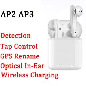 GPS Rename AP2 AP3 Mini TWS Bluetooth Earbuds H1 Chip de carregamento sem fio Caso Optical In-Ear Detecção Pods PK Air Pro i11 i12 i9S