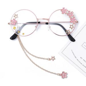 Sakura mignon pendentif clair lunettes optiques cadre Femmes rondes filles Retro Lunettes main Lunettes gothique verre Oculos De Gafas
