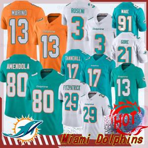 13 Dan Marino Miami maglie Dolphin 17 Ryan Tannehill 29 Minkah Fitzpatrick 3 Josh Rosen 80 Danny Amendola 91 Cameron Wake 21 Frank Gore nuova