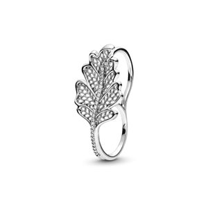 925 Sterling Silver Oak Leaf Double Ring with Logo and Pandora Original Gift Box Luxury Designer Jewelry Women CZ Diamond Engagement Rings