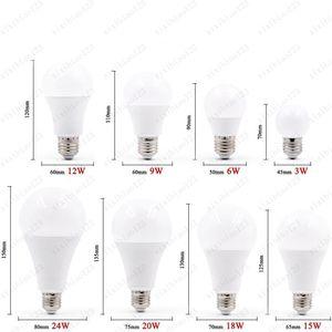 Heiße Verkäufe LED E27 E14 Birnen-Lampe intelligenter IC Real Power Cold White / warmes Weiß Lampe 3W 6W 9W 12W 15W 18W 20W 24W 100pcs Freies Verschiffen