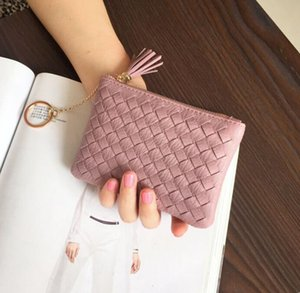 Shaped Coin Square Women 3pcs Purse PU Color Min Weave With Tassel Wallet Mix Short Ngovc