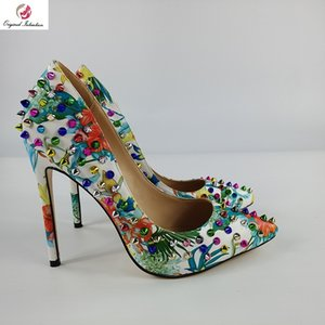 Women Pumps Fashion Party Heels Pointed Toe Thin Heels Rivet multicolor Heel Height 12-13cm Original Intention Size 35-45
