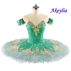 Cyan Professional Ballet Tutus For Girl YAGP Classical Pancake Tutu Ballet Dress Adult Soloist Esmeralda Dress Palegreen