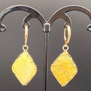 Ingrosso 10 paia placcato oro Rhombus Shape Malachite pietra ciondola gli orecchini per le donne Aventurine verde gioielli