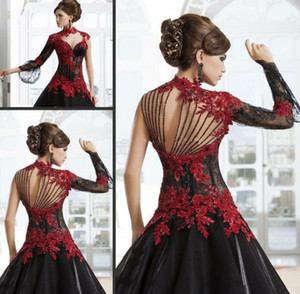 Victorian Gothic Masquerade Wedding Dresses High Neck Red and Black A-Line Lace Appliques Gothic Bridal Dresses Beading Back Wedding Gowns 7