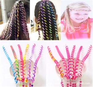 Enfiler des perles Bigoudi arc-en-bâton enfants bricolage bigoudis de couleur bobine spirale diadèmes fille galon galon bâton de curling