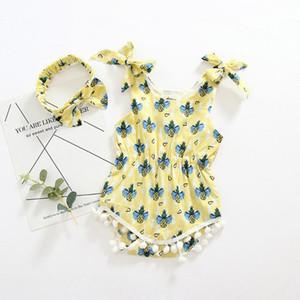 mangas del niño recién nacido del mameluco de los bebés de la correa de piña de impresión de los mamelucos del mono del mameluco Equipos ropa de verano para el bebé