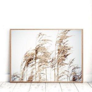 Grama Art Reeds Mushroom Poster abstrato Nordic lona Photo Wall Imprimir Pintura Neutral minimalista Imagem escandinava Decor