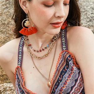 Bohemian Shell Quaste Ohrringe Halskette Marine-Art-Dame Schmuck Kombination Frauen neue Art und Weise Beach Party-Zubehör