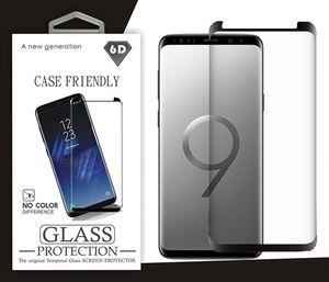 واقي الشاشة الزجاجي المنحني الكامل 5D لسامسونج نوت 10 S10 PLUS S9 واقي شاشة لهواتف سامسونج S8 S8 بلس S7 ايدج نوت 9 نوت 8