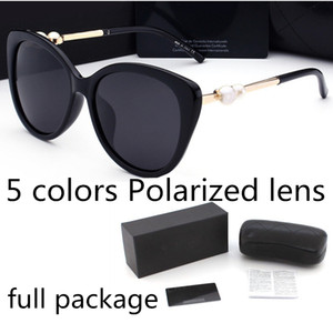 Moda perla Diseñador gafas de sol marca de alta calidad lente polarizada gafas de sol gafas para mujeres anteojos marco de metal 5 color 2039