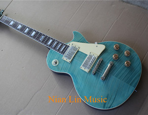 6-String Electric Guitar with Sky Blue Color,Flame Maple Veneer,White Binding,Chrome Hardware and can be Customized