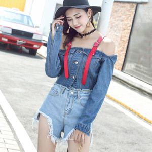 2020 estate sexy Jacket / Shorts 2PCS Imposta Cintura Exposed Navel cappotto corto di donne Sling senza spalline Giacca di jeans + Ultra Short Jeans