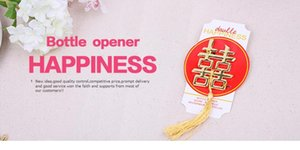 """Double Happiness Beer Bottle Opener Golden Chinese Style """"Happy"""" Word Opener Wedding Favors Gifts For Guest Souvenirs"""